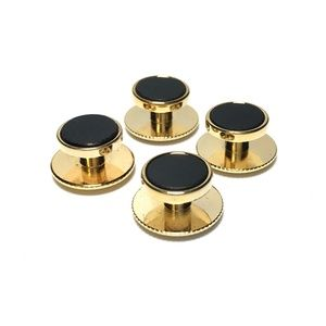 Other - 4 Gold and Onyx Tuxedo Shirt Studs with Screw Back
